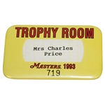 Mrs. Charles Price 1993 Masters Tournament Trophy Room Badge #719