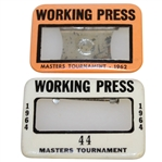1962 & 1964 Masters Tournament Working Press Badges - Arnold Palmer Winner