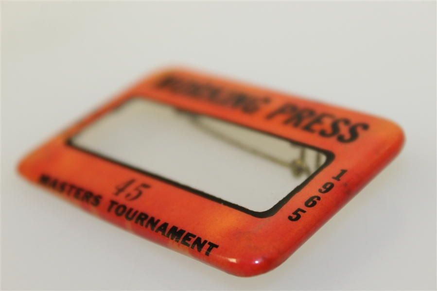 1965 Masters Tournament Working Press Badge #45 - Jack Nicklaus Winner