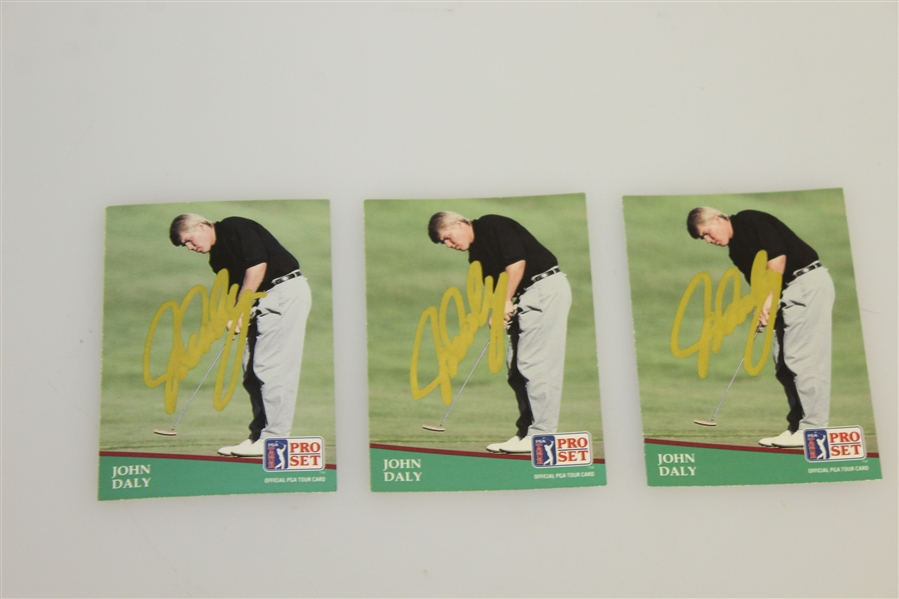 Jonh Daly Lot - 3 Signed Collectors Cards, Signed Poker Card, Signed John Daly Cocktail Bottle JSA ALOA
