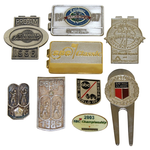 1985 Chrysler Team, 1997 Pebble, 2002 Pebble Inv, ABC World of Sports, & Misc. Badges/Clips