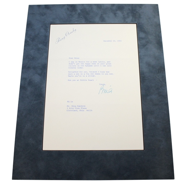 Bing Crosby Signed 12/23/1970 Typed Letter to Doug Sanders PSA/DNA #AG01118