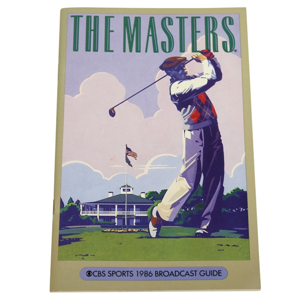 1986 Masters CBS Sports Broadcast Guide - Jack Nicklaus Win 6th Green Jacket!