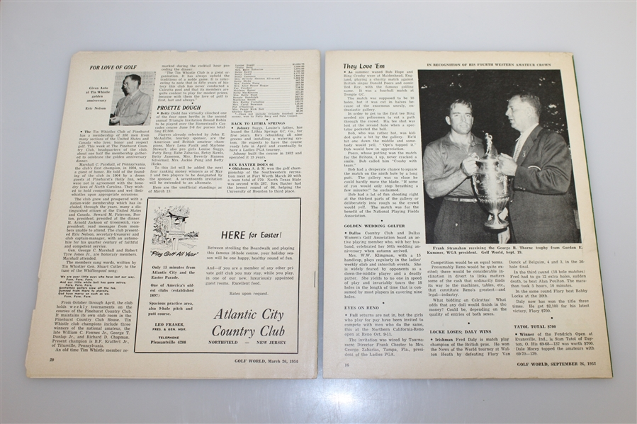 Four Vintage 'Golf World' Weekly Golf Magazines - Sept 1952 & Jan-Feb-March 1954