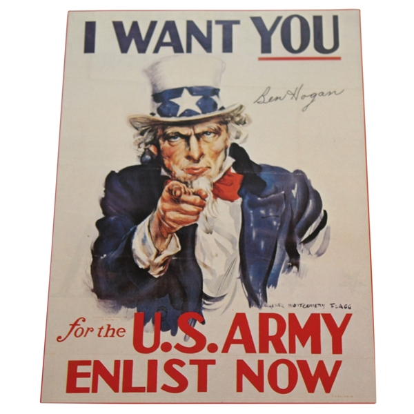 Ben Hogan Signed Uncle Sam 'I Want You for the US Army Now' WWII Poster Page JSA ALOA