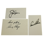 Arnold Palmer, Jack Nicklaus, & Gary Player Big Three Signed Index Cards JSA ALOA