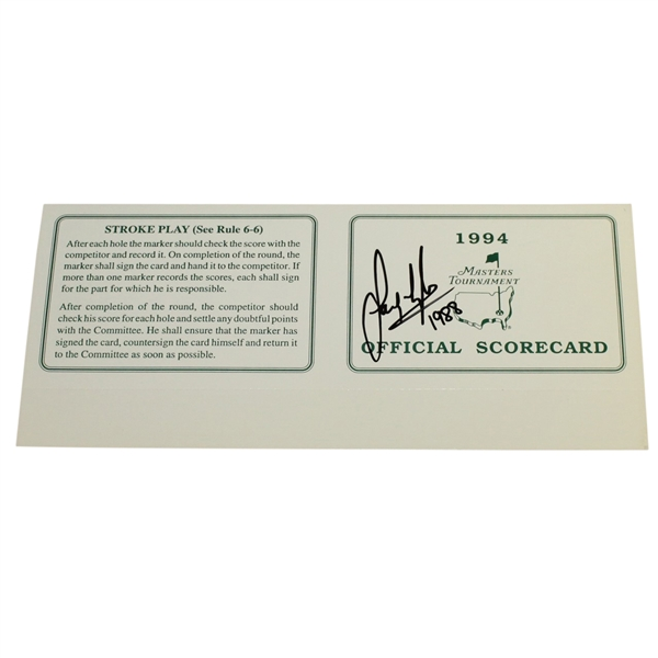 Sandy Lyle Signed Official 1994 Masters Tournament Scorecard with '1988' JSA ALOA