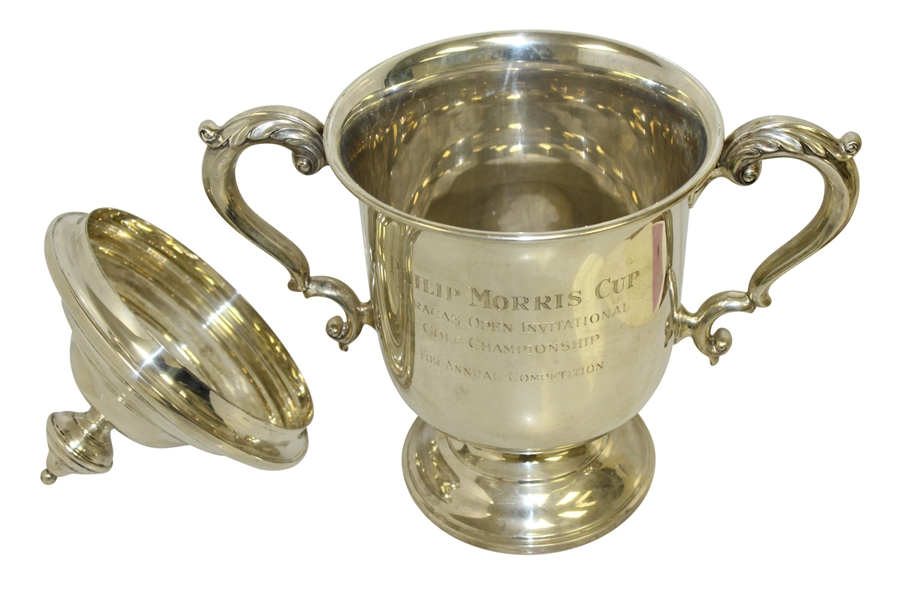 1960's Philip Morris Cup Caracas, Ven. Open Inv. Sterling Silver Loving Cup Trophy With Lid