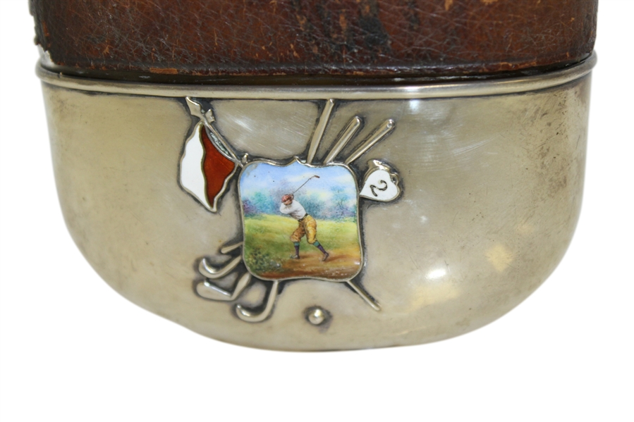 Vintage Sterling Silver, Glass & Leather Sheath Flask with Monogrammed LGW & Enameled Golfer