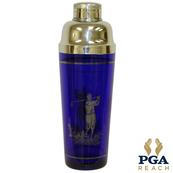 Blue Glass Sterling Silver Golfer Etched Cocktail Shaker with Cover