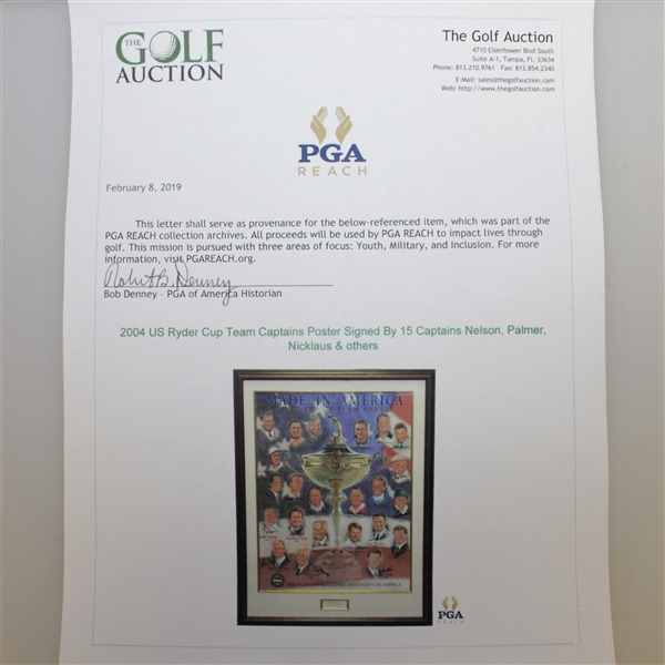 2004 US Ryder Cup Team Captains Poster Signed By 15 Captains Nelson, Palmer, Nicklaus & others JSA ALOA