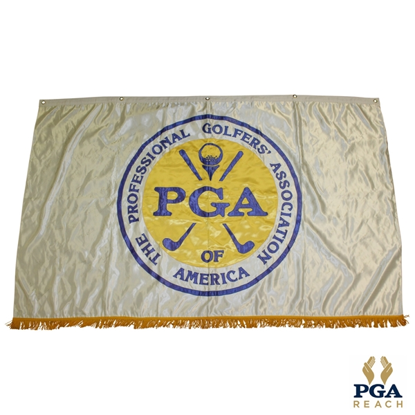 Flown PGA Of America Signed Flag-W/ Palmer, Stewart, Nicklaus, Seve & others 6 FT x 4 FT! JSA ALOA
