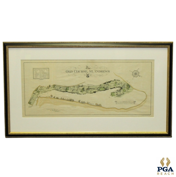 The Old Course at St.Andrews Map Surveyed & Depicted By Alister MacKenzie - March 1924