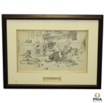 1905 Original Mice at Play Pen And Ink Golf Illustration for PUCK Magazine Signed by J.S. Pughe