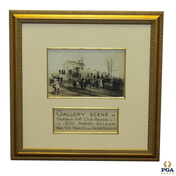 Oakland GC Bayside B&W Photo of 1900 Match Between Walter Travis & Harry Vardon - Framed