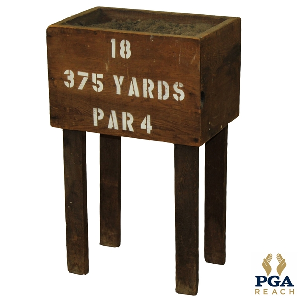 Circa 1900 Sand Tee Box - 18th Hole - Stenciled 375 Yards, Par 4, with Sand