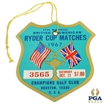 1967 Ryder Cup at Champions GC 17th Biennial Matches Ticket #3565 - Impeccable Condition - Hogan Captain
