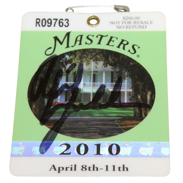 Phil Mickelson Signed 2010 Masters Tournament Badge #R09763 - Third Green Jacket JSA ALOA