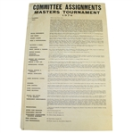 1979 Masters Tournament Committee Assignments Poster - All Officers/Rules/Chairmen and more