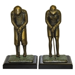 Bronze Pair of Male & Female Golfer Bookends on Plinth - Circa 1920s Era Golfers