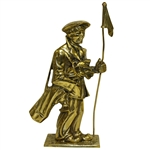 Oversized Solid Brass Caddie with Flagstick & Golf Clubs/Bag Doorstop