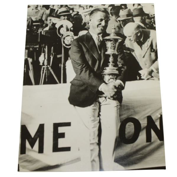 Bobby Jones Amateur Trophy at Merion - 1930 US Amateur USGA Stamped 8x10 B&W Photo