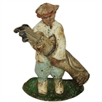 Antique Cast Iron Golfer with Golf Bag & Clubs Doorstop with Original Paint & Patina