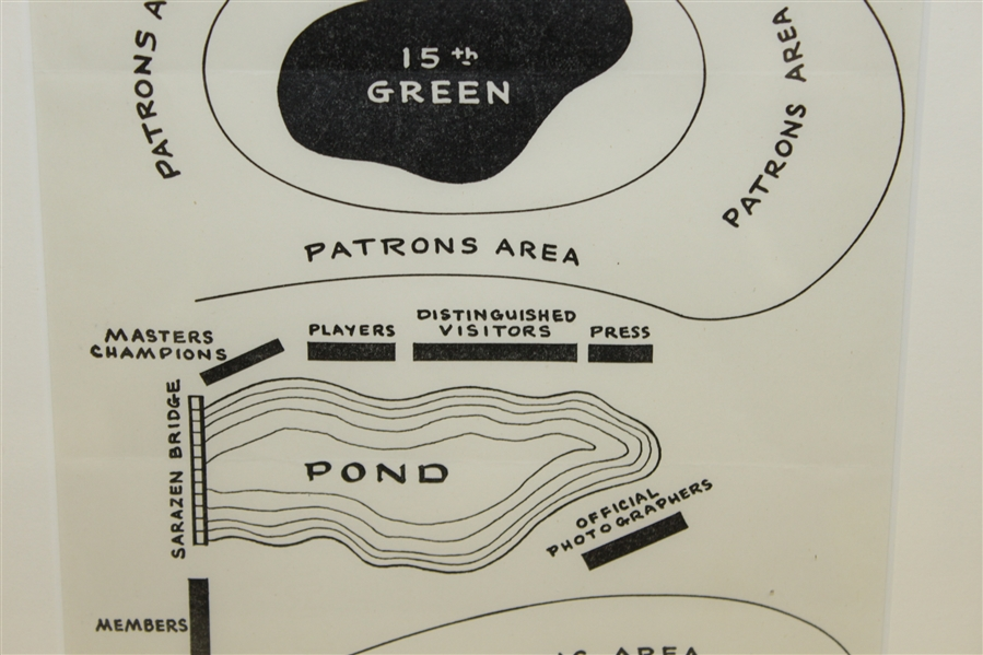 Official Augusta National Golf Club 1955 Sarazen Bridge Dedication Ceremony Map Layout