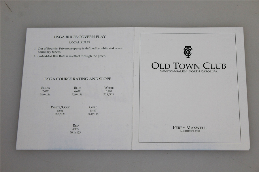 Arnold Palmer Signed Old Town Club Official Scorecard JSA ALOA