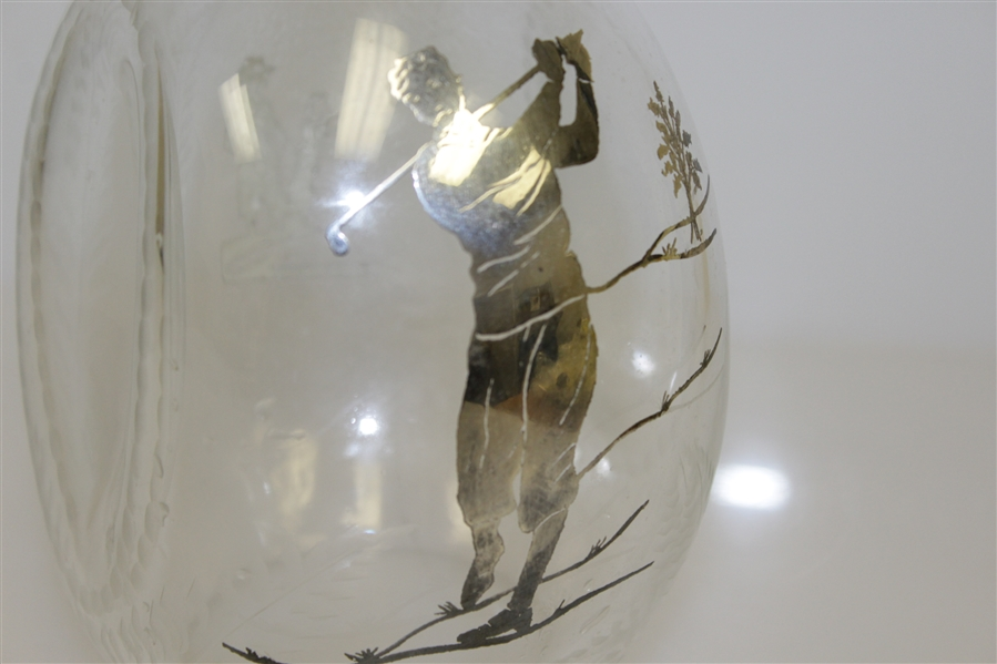 1920's Sterling Inlay Post-Swing Golfer Themed Rye Whiskey Glass Decanter with Stopper