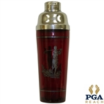 Red Glass Sterling Silver Golfer Etched Cocktail Shaker with Cover