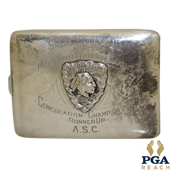 1933 Shenecossett Men's Invitation Tournament Consolation Championship Runner Up Engraved Cigarette Box