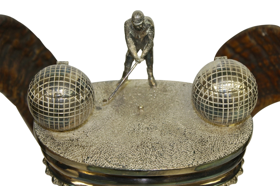 Ram Horn Inkwell Set with Silverplate Well, Golfing Figure, Horn Tips, & Spherical Inkwells