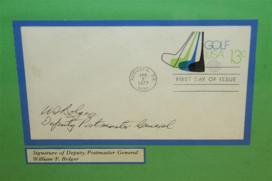 1977 Masters Commemorative Envelope & Proof Design Display Signed by Postmaster General - Framed
