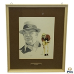 Sam Snead Head Sketch & Putting Golf Stance Signed by Artist J. McQueen - Framed