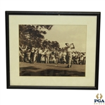 Ben Hogan Teeing Off Photo - Believed to be at The Masters - Framed