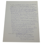 Herman Keiser Signed Hand-Written Full Page About Career Length & Wins JSA ALOA