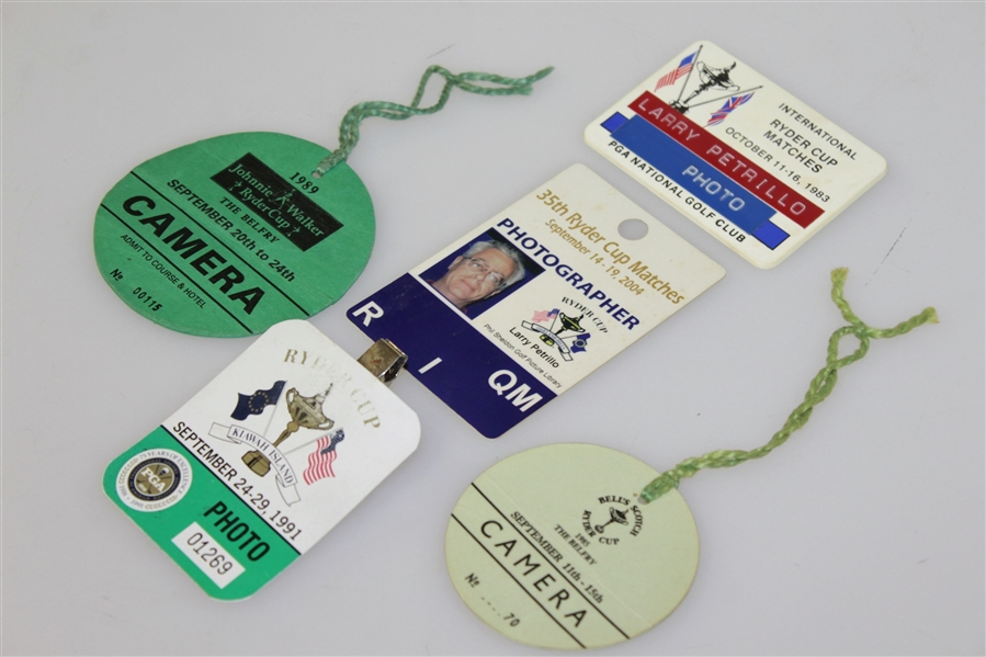 Five Misc. Ryder Cup Matches Badges - 1983, 1985, 1989, 1991, & 2004