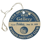 1929 US Open at Winged Foot Friday Gallery Ticket with Original String - Bobby Jones Winner!