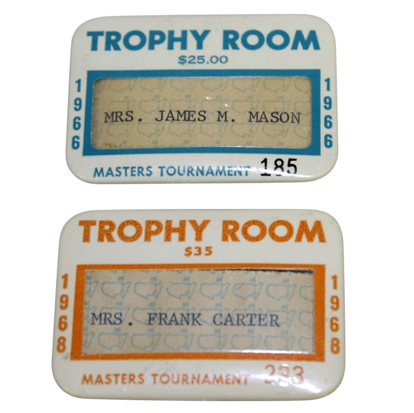 1966 & 1968 Masters Tournament Trophy Room Badges #185 & 233