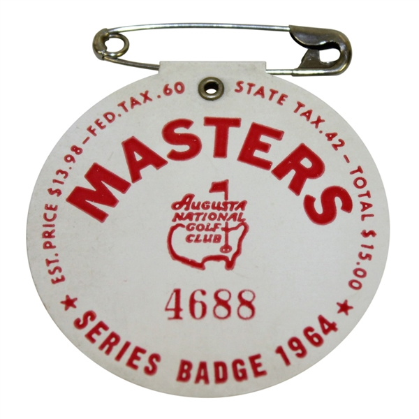 1964 Masters Tournament Series Badge #4688 - Palmer's 4th & Final Green Jacket!