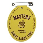 1965 Masters Tournament Series Badge #7221 - Jack Nicklaus 2nd Green Jacket!