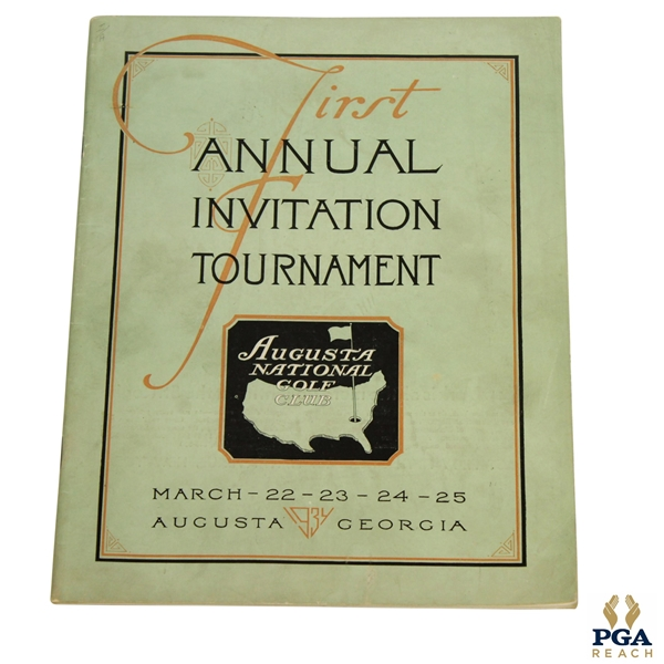 1934 Augusta National First Annual Invitation (Masters) Tournament Program - Excellent Condition!