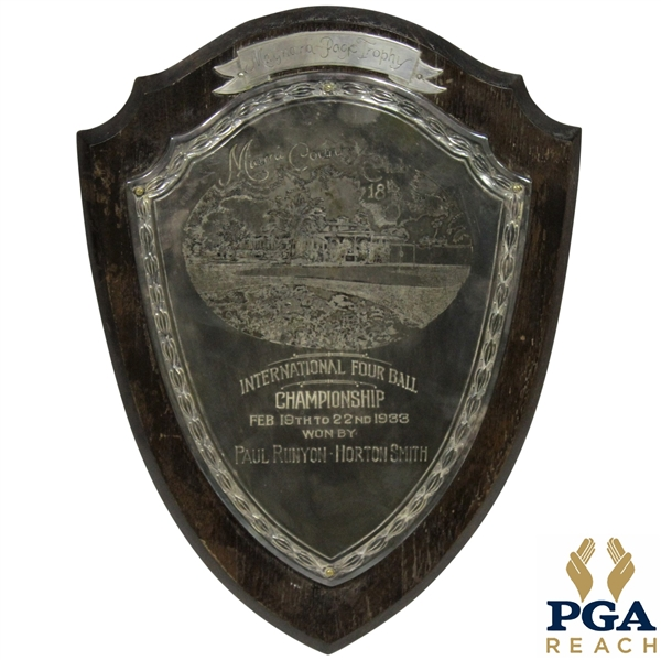 Horton Smith's 1933 International Four Ball Winners Plaque with Paul Runyan - Miami CC