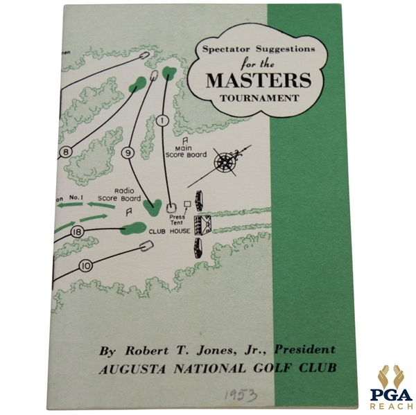 1953 Masters Tournament Spectator Guide - Ben Hogan Winner
