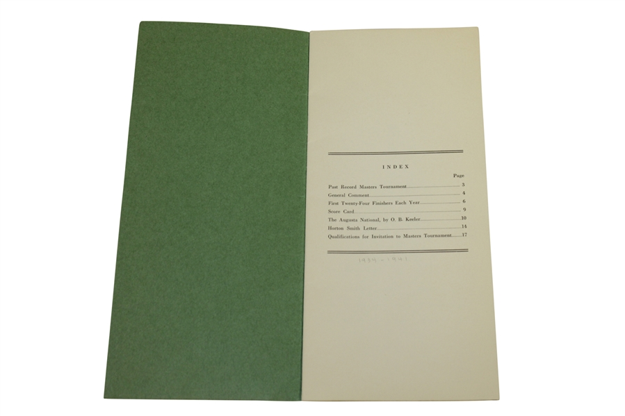 1942 Records of the Masters Tournament Issued by Augusta National - Seldom Seen