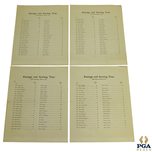 Complete 1942 Thursday, Friday, Saturday, & Sunday Masters Tournament Pairing Sheets