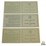 Three Official Masters Tournament Scorecards - 1960 (x2) and 1961