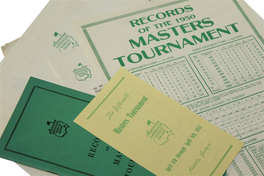 1951 Masters Lot - Records Booklet, Records Sheet, Pamphlet, & Misc. Correspondence