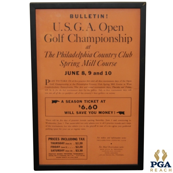1939 US Open Championship at Philadelphia Country Club Ticket Poster - Byron Nelson Winner 15 x 24